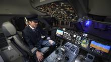 The cockpit of the demonstration cabin of a Bombardier C Series plane. (Fred Lum/The Globe and Mail)