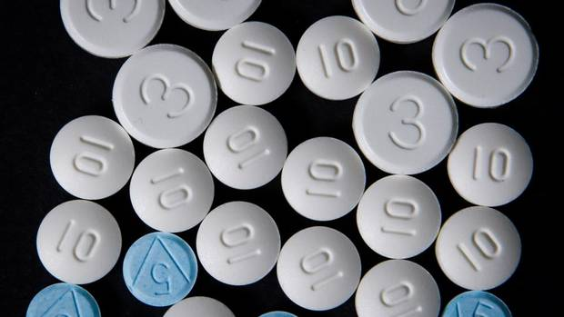 Compounds descended from the opium poppy: an array of opioids from Tylenol 3 to powerhouses oxycodone and morphine at a pharmacy in Vancouver this week. (Darryl Dyck for The Globe and Mail)
