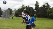 Shehnajdeep Brar, 15, wears a turban as he performs drills during a soccer practice with the Sikh Sports Club house league at Cherrytree public School in Brampton. (Philip Cheung/Philip Cheung)