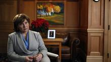 Premier Christy Clark answers questions in an office during an interview Monday. (CHAD HIPOLITO For The Globe and Mail)