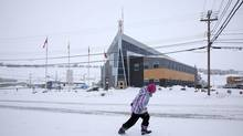 The building housing the headquarters of the RCMP in Iqaluit. Bill Watt of Arctic Foundations of Canada Inc. (AFC) believes the building is sinking due to foul play. (Curtis Jones for The Globe and Mail)