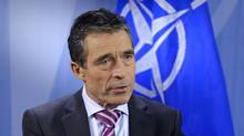 NATO Secretary-General Anders Fogh Rasmussen speaks during an interview at the Alliance headquarters ahead of a NATO defence ministers meeting in Brussels. (ERIC VIDAL/REUTERS)
