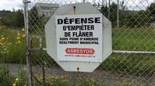 """A """"No Trespassing"""" sign is shown at an abandoned asbestos mine in Thetford Mines, Que. in an August 7, 2015 photo. (Lia Levesque/THE CANADIAN PRESS)"""