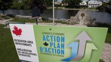 A Canada's Economic Action Plan sign is pixtured in Mississippi Mills, Ont., August 23, 2010. (Adrian Wyld/THE CANADIAN PRESS)