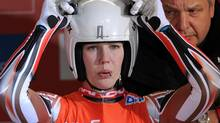 Canadian Alex Gough prepares for a run at the women's Luge World Cup in Koenigssee, Germany, Saturday Jan. 4, 2014. (Tobias Hase/AP)