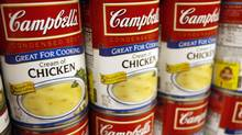 Cream of Chicken Campbell's Condensed Soup is stocked on a shelf at a grocery store in Phoenix, Arizona in this file photo taken February 22, 2010. (JOSHUA LOTT/REUTERS)