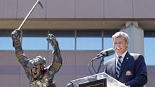 Hockey legend Bobby Orr smiles at the unveiling of a statue depicting the famous scene of Orr flying through the air immediately after scoring 'The Goal' that clinched the NHL 1970 Stanley Cup Championship in Boston, Massachusetts May, 10 2010. (ADAM HUNGER)