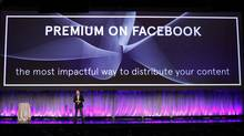 """Facebook Director of Marketing Mike Hoefflinger announces a new """"Premium on Facebook"""" service described as """"the most impactful way to distribute content"""" as he delivers a keynote address at Facebook's """"fMC"""" global event for marketers in New York City, February 29, 2012. (MIKE SEGAR/Mike Segar/REUTERS)"""