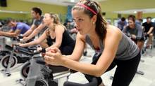 Carly Ring attends a spin class at Great Life Fitness in Ottawa. (Dave Chan/The Globe and Mail)