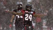 Ottawa Redblacks defensive back Jerrell Gavins celebrates a play against the Edmonton Eskimos on Nov. 20, 2016. (Adrian Wyld/The Canadian Press)