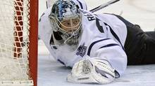 Toronto Maple Leafs goalie James Reimer stops a shot during the second period of an NHL hockey game against the Tampa Bay Lighting on Thursday, March 15, 2012, in Tampa, Fla. The Maple Leafs won 3-1. (AP Photo/Brian Blanco) (Brian Blanco)