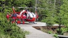 Elaine Campbell is airlifted to hospital after spending six days alone on a remote Haida Gwaii beach. (Ken Beatty/Ken Beatty)