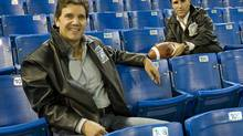 Toronto Argonaut owners Howard Sokolowski, left, and David Cynamon sit inside the Rogers Centre in Toronto on Saturday, November 3, 2007. Cynamon and Sokolowski have indicated they want to remain as owners of the CFL club. (Philip Cheung/Philip Cheung)