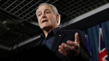 Marc Garneau speaks at news conference in Ottawa on Feb. 25, 2013. (DAVE CHAN FOR THE GLOBE AND MAIL)