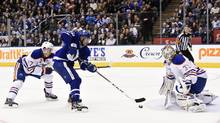 Nazem Kadri scores the game-winning goal against the Oilers on Tuesday. (Nathan Denette/THE CANADIAN PRESS)