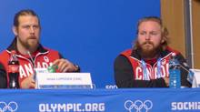 Bobsleders Jesse Lumsden, left, and Justin Kripps appear at a news conference in Sochi, Russia, on Wednesday, Feb. 5, 2014. (Neil Davidson/Canadian Press)