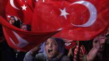 In this file photo dated July 25, 2016, a crowd shouts slogans during an anti-coup rally in Istanbul. (Petros Karadjias/AP)
