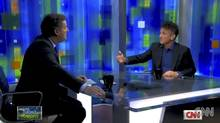 Piers Morgan, left, interviews Sean Penn on CNN (screen grab)