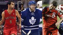 Toronto Raptors guard Jose Calderon, Toronto Maple Leafs right winger Phil Kessel and Toronto FC defender Dan Gargan. (Frank Polich/Reuters, Frank Gunn/CP and Mike Cassese/Reuters)