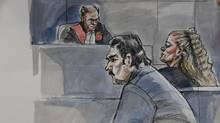 Sketch of Norman Kidman and Elva Bottineau, who allowed their five-year-old grandson to starve to death and have been found guilty of second-degree murder in Toronto. (Marianne Boucher/CITY-TV)