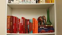 Tanya Springer's colour-coded bookshelf at home in Toronto. (Fernando Morales/The Globe and Mail)