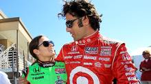 Danica Patrick and Dario Franchitti chat before practice for the IZOD IndyCar Series Grand Prix at Infineon Raceway on August 26, 2011 in Sonoma, California. (Jed Jacobsohn/Jed Jacobsohn/Getty Images)