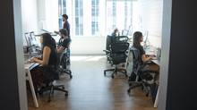 Staff work in a pod at Shopify's Ottawa headquarters on Aug. 26. (Justin Tang/The Globe and Mail)