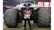 Monter truck driver Taryn Laskey competed in Monster Jam at the Rogers Centre in Toronto. (Fernando Morales/The Globe and Mail)