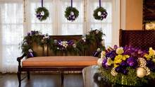 Flower arrangements for Christmas spread (Deborah Baic/The Globe and Mail)