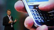 Research in Motion Chief Executive Officer Thorsten Heins speaks at the BlackBerry World event in Orlando. (DAVID MANNING/David Manning/Reuters)