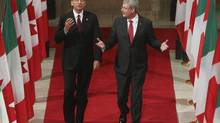 Canadian Prime Minister Stephen Harper speaks with Italian Prime Minister Enrico Letta as they walk through the Hall of Honour in the Parliament buildings in Ottawa, Monday Sept. 23, 2013. Mr. Harper will not address the UN while he is in New York this week. (Fred Chartrand/THE CANADIAN PRESS)