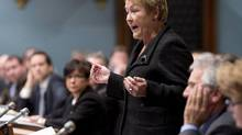 Premier Pauline Marois responds to opposition questions Tuesday in the Quebec legislature. (JACQUES BOISSINOT/THE CANADIAN PRESS)