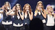 From left to right, Hailee Steinfeld as Emily, Anna Kendrick as Beca, Brittany Snow as Chloe, Alexis Knapp as Stacie and Rebel Wilson as Fat Amy. In Pitch Perfect 2, the Barden Bellas seek a world a cappella title. (Richard Cartwright/2015 Universal Studios)