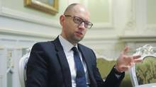 Arseniy Yatsenyuk during an interview with The Globe and Mail in Kiev, on Feb 20, 2015. (Andrew Kravchenko For The Globe and Mail)