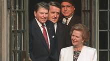 Margaret Thatcher leads Ronald Reagan, left, Brian Mulroney and Helmut Kohl out of Hart House in Toronto during the G8 summit in June, 1988. (FRED CHARTRAND/THE CANADIAN PRESS)