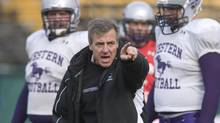 The University of Western Ontario Mustangs and coach Greg Marshall face the Queen's Golden Gaels in Saturday's Yates Cup. (file photo) (KAZ NOVAK/THE CANADIAN PRESS)