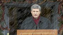 Prime Minister Stephen Harper announces, during a snowstorm, that Governor General Michaelle Jean approved his recommendation to prorogue Parliament at Rideau Hall in Ottawa Thursday Dec 4 , 2008. (Tom Hanson/The Canadian Press/Tom Hanson/The Canadian Press)
