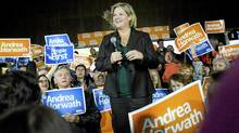 NDP leader Andrea Horwath speaks at a campaign rally in Brampton on Sunday October 2, 2011. (Aaron Vincent Elkaim/The Canadian Press/Aaron Vincent Elkaim/The Canadian Press)