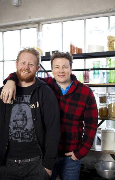 Derek Dammann, left, and Jamie Oliver in London (Xavier Girard Lachaine for The Globe and Mail)