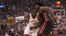 DeMarre Carroll, seen working around Miami Heat's Justise Winslow last week, won't say who he voted for in the election. (Jon Blacker/The Canadian Press)