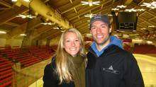 NHL hockey player Dominic Moore and his late wife Katie, who died of liver cancer. This photo was taken at Alexander Bright Arena in Boston Feb. 2010 (HANDOUT)