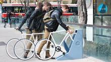 A prototype of the new lock station system created by industrial design student Patrick Kroetsch for his thesis project. It's based on some of the same principles as the BIXI bike borrowing system such as flexibility, simplicity and portability. (Patrick Kroetsch)