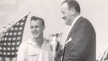 J. Frowde Seagram's presents Arnold Palmer with the Seagram Gold Cup after his first PGA tour victory at the 1955 Canadian Open, at Westin Golf and Country Club. (Canadian Golf Hall of Fame Archives)