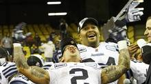 Toronto Argonauts Chad Owens celebrates after defeating the Montreal Alouettes (The Canadian Press)