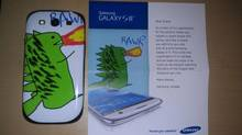 The customized S III that Samsung sent to Shane Bennett with his dragon doodle. (Shane Bennett)
