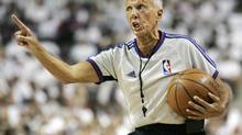 FILE - In this May 24, 2008, file photo, NBA referee Dick Bavetta makes a point during the second quarter of Game 3 of the NBA basketball Eastern Conference finals between the Boston Celtics and the Detroit Pistons in Auburn Hills, Mich. Bavetta is retiring after a 39-year career in which he never missed an assignment. (Duane Burleson/AP)