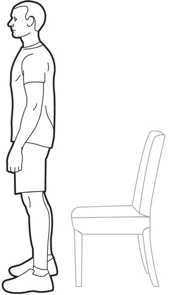 Start by positioning your feet hip-distance apart in front of your office chair. (Trish McAlaster)