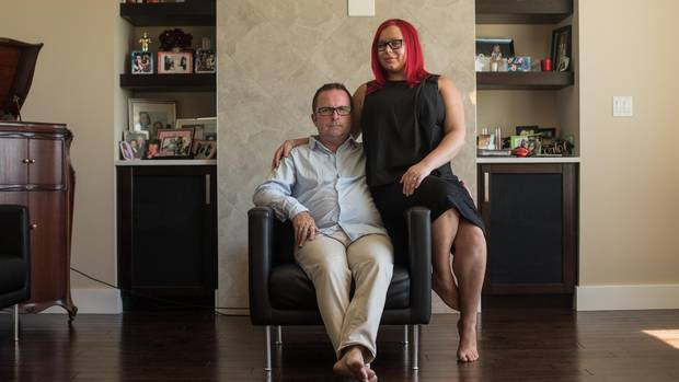 Shawn Beaver and his wife Chantal Beaver at home in Edmonton, Alberta. He met his wife in early 2014, weeks after his mother's death.