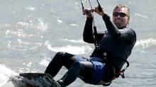 British tycoon Sir Richard Branson kite surfs near Squamish, British Columbia August 8, 2005.