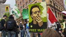 "Protesters take to the streets of downtown Vancouver to protest the extradition of the self-style ""Prince of Pot"", Marc Emery. May 20, 2010. (Brett Beadle For The Globe and Mail/Brett Beadle For The Globe and Mail)"